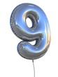 number 9 balloon 3d illustration