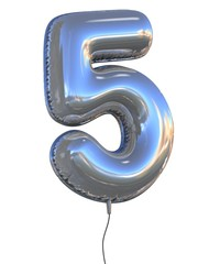number 5 balloon 3d illustration