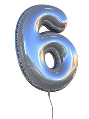 number 6 balloon 3d illustration