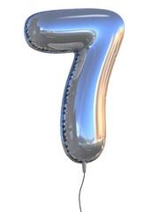 number 7 balloon 3d illustration