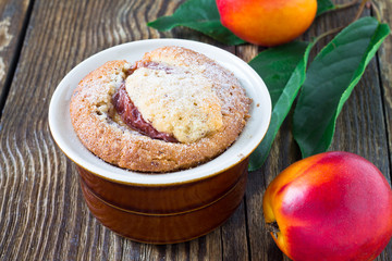 Homemade peach cake in a ramekin