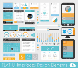 UI Flat Design Elements for Web and Infographics