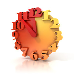 abstract 3d clock on white background