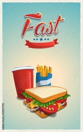 retro vector background with food