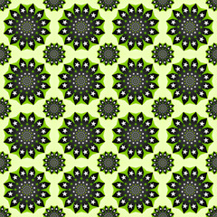 Green Seamless Flowers Pattern
