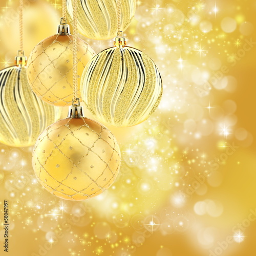 Golden Christmas balls. Collage.