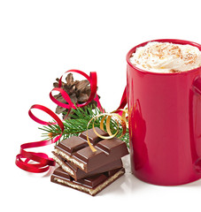 Christmas card with red coffee cup topped with whipped cream