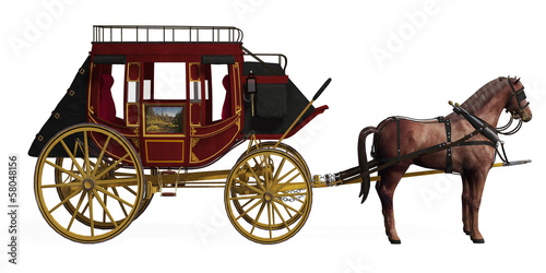 canvas print picture Stagecoach with Horses