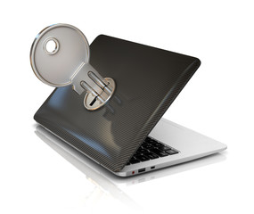 computer security 3d concept - laptop and key