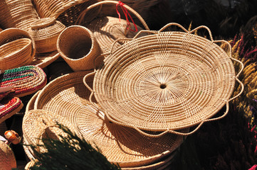 Various rattan containers put for sale in market fair.