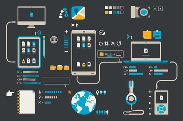 technology and smartphone icons