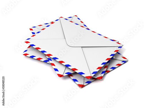 stack of envelopes isolated on white
