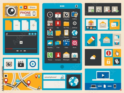 flat smart phone icons, vector background,