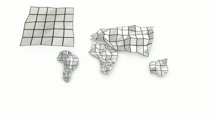 Origami continents unfolding and folding. Video loop.
