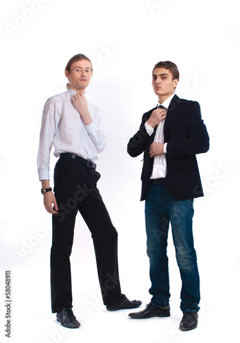 two young men on a white background