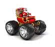Santa Claus on sleigh with big wheels