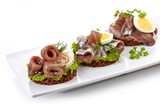 canapes with anchovies and egg