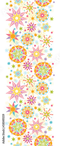 Vector colorful Christmas Stars Vertical Seamless Pattern