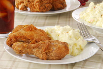 Fried chicken and potato salad