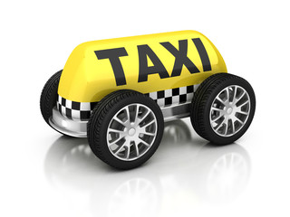 taxi sign on wheels 3d illustration