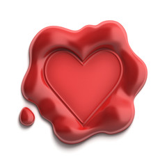 wax seal heart 3d illustration