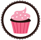 Cupcake in a Scalloped Circled