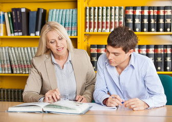 Teacher Explaining Student While Sitting At Table In Library