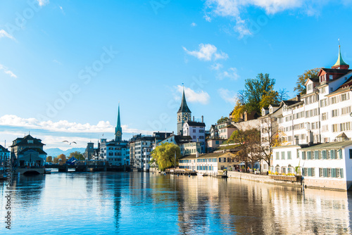 Limmat river and famous Zurich old city