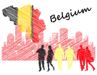 Map and flag of Belgium next to silhouettes