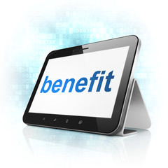 Finance concept: Benefit on tablet pc computer