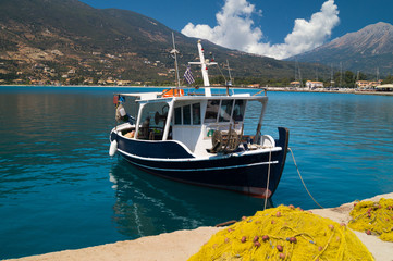 Traditional fishing boat at Lefkada island, Greece