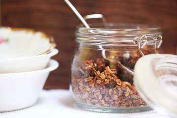 Cereal baked granola with figs, seeds and nuts for breakfast