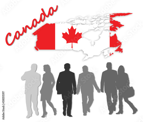 Map and flag of Canada next to silhouettes