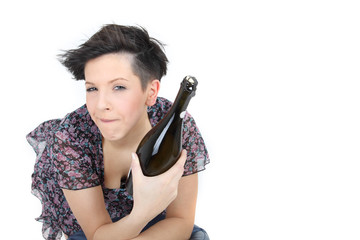 Frau mit Sektflasche