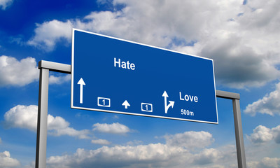 Autobahnschild Hate