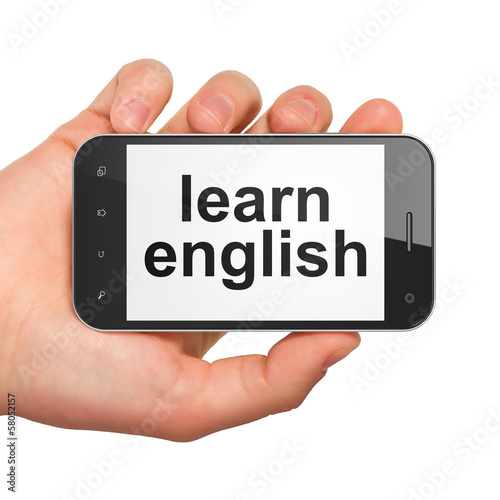 Education concept: Learn English on smartphone