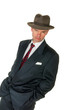 Fifties retro man wearing trilby, on white
