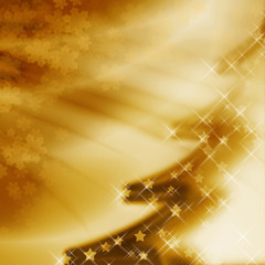 Golden christmas background with christmas tree