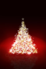 Christmas tree background with defocused lights