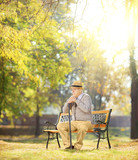 Sad senior man with cane sitting on bench in a park