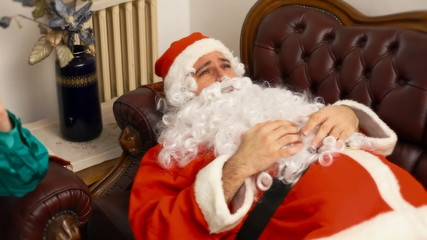 Santa Claus in therapy feeling bad