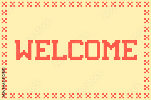 Pixel Welcome Matt in with a Cross Border and Plain Background