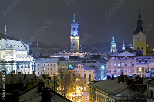 Beautiful winter cityscape in the center of old Lvov city