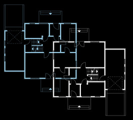ground floor blueprint. vector illustration