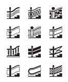 Different types of railings - vector illustration