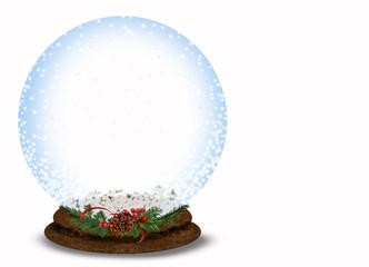 Christmas snow globe on white