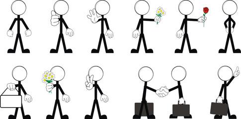 pictograms stick man vector set