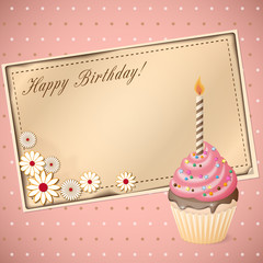 birthday scrapbooking card with cupcake