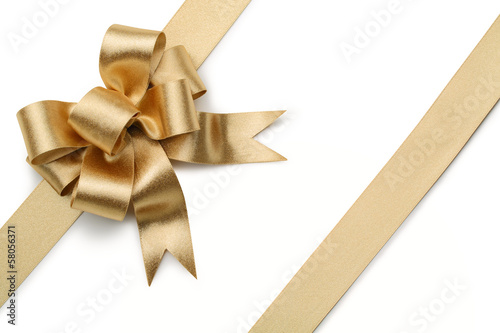 Leinwandbild Motiv Gold ribbon with bow
