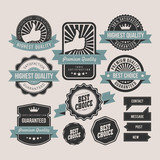 Vintage labels and ribbon retro style set - 58056731